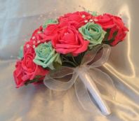 ARTIFICIAL FLOWERS CORAL MINT GREEN FOAM ROSE BRIDE CRYSTAL WEDDING BOUQUET *NEW
